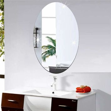 42x27cm Oval Removable Decorative Mirror Sticker Acrylic 3D Crystal Wall Mirror Sticker Art Home Living Room Wall Decoration