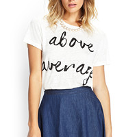 FOREVER 21 Above Average Linen Tee Cream/Black
