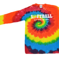 "Softball Tie Dye Long Sleeve T-Shirt ""Play Tough, Get Dirty"" Logo"