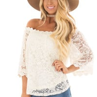 Ivory Off the Shoulder Top with Sheer Lace Detail
