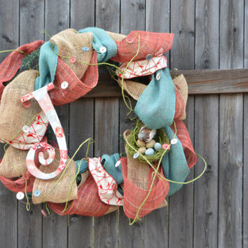 Nature-Inspired Burlap/Deco Mesh Front Door Wreath- Customizable