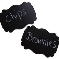 100 Black Tags, Almost Chalkboard Label Tags, Black Gift Tags, Black Wedding Tags, Food Buffet Tags