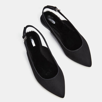 Flat faux fur slingback shoes with pointed toes - SHOES - Bershka United Kingdom