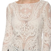 Whisper of Spring Crochet Floral Lace Top - Ivory