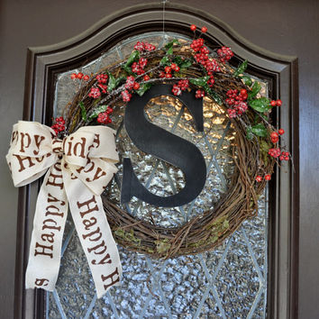 Christmas Wreath, Holiday Wreath, Rustic, Monogramed, Personalized, Happy Holidays, Red Berries, Decorations