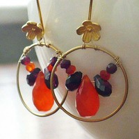 Orange Carnelian and Garnet Briolette Earrings w Vermeil Flower Wires | BellaSweet - Jewelry on ArtFire