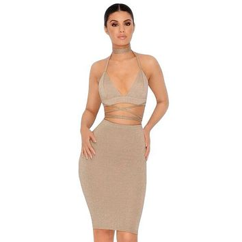 Halter Deep V Neck Lace Up Crop Top Two Piece Set