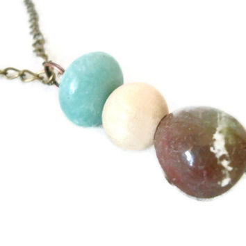 Long Boho Necklace / Rock and Wooden Bead Necklace / Blue and Red / OOAK