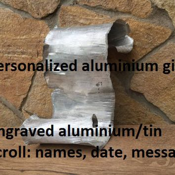Aluminium scroll, 10th anniversary, tin scroll, aluminium anniversary, 10 year anniversary, tin anniversary, tin gift for him, tin gifts,tin