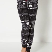 Black 8-Bit Fair Isle Brushed Sleep Jogger | Pants | rue21