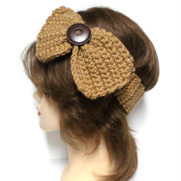 Women's brown crochet large bow large brown button accent headband, ear warmer, brown crochet bow button headband, gift