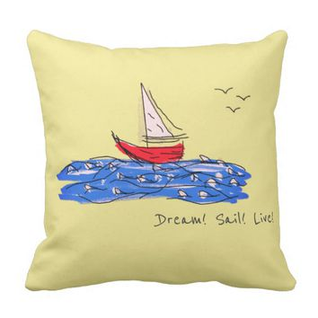 Dream Sail Live Sea Boat Seagulls Throw Pillow