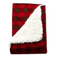 Trend Lab Northwoods Plaid Flannel Faux-Shearling Receiving Blanket (Tan/Red/Flannel)