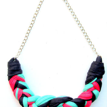 Tshirt Yarn Necklace, Cotton Necklace, Fiber Necklace, Knotted Necklace, Braided Necklace, Navy Necklace, Pink Necklace, Mint Green Necklace