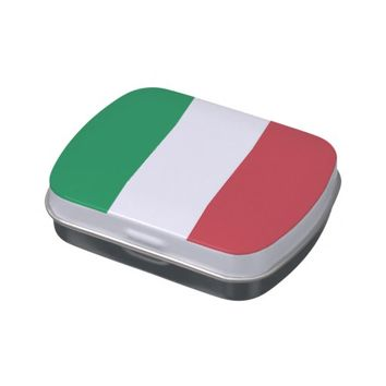 Patriotic candy tins with Flag of Italy