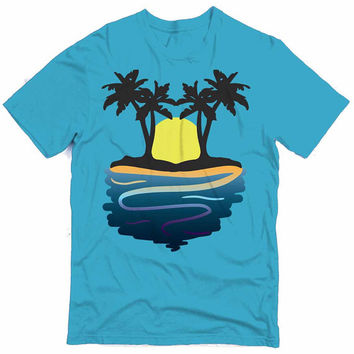 Beach Sunset Graphic Tee (mj-os-NL3600-beach2-mltclr)
