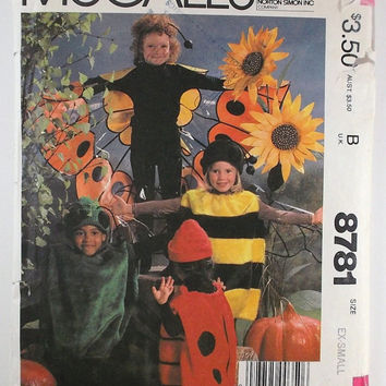 Vintage Costumes Pattern McCall's 8781 Spider Bumble Bee Lady Bug Butterfly Wings Children's Boys' Girls' Costumes