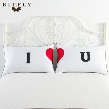 BITFLY 1 pair Queen King Pillowcase Decorative Pillow Case Romantic Wedding Valentine Gift MR and MRS Pillow Cover Personalised