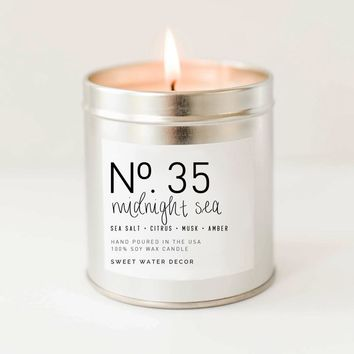 Midnight Sea Soy Candle   Silver Tin Candle