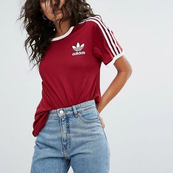 adidas Originals Three Stripe Tee In Burgundy at asos.com