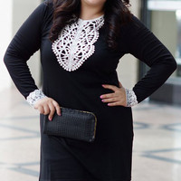 Black Long Sleeve Plus Size Dress with Lace Trim