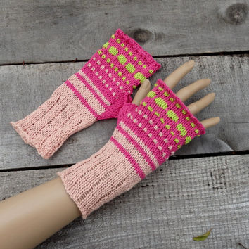 knit gloves, knitted cotton  fingerless gloves, women pink arm warmers, knitting accessories, hand warmers, colorful fingerless mittens,