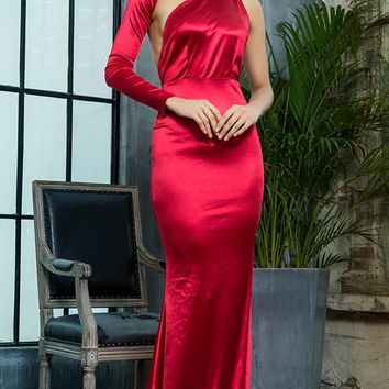 Hollywood Mystery Red Satin One Shoulder One Long Sleeve Backless Mermaid Maxi Dress