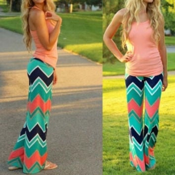 Boho ZigZag Green Orange Palazzo Pants