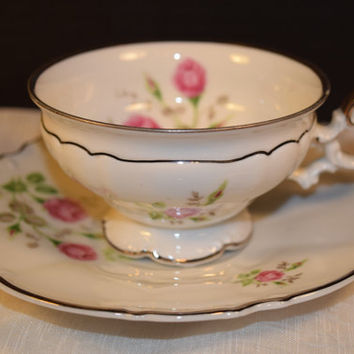 Bavaria Heirloom Footed Cup Saucer Vintage Saladmaster Heirloom Cup & Saucer Shabby Chic China Discontinued China Replacement Wedding Decor