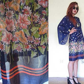 Vintage 70's blue navy sheer hippie boho bohemian floral flower bell sleeves print dress