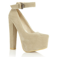 Limited Cream Ankle Strap Chunky Platform Court Shoes