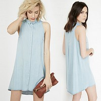 Fashion Casual Distressed Sleeveless Single Row Buckle Denim Shirt Mini Dress