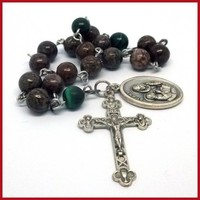 St Anne Catholic Chaplet Brown Jasper and Malachite