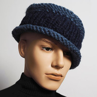 Men's navy blue knit fedora - Ready to ship - Fashion knit hat - Mens crochet blue hat - Mens warm knit hat - Chunky knit hat - Porkpie hat