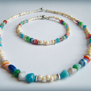 Multicoloured Beachy Necklace - cream, silver and colours (red, blue, green, aqua, mauve) with magnetic clasp