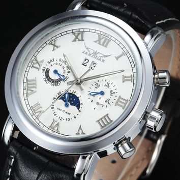 Automatic Mechanical Moon phase Date Calendar Dial Leather Strap Men Watches