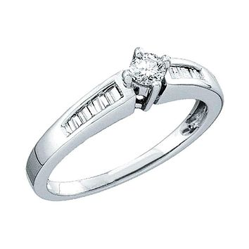 10kt White Gold Women's Round Diamond Solitaire Bridal Wedding Engagement Ring 1/4 Cttw - FREE Shipping (US/CAN)