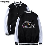 2017 Stranger Things New Arrive Baseball Jacket Kpop Sweatshirts Uniform Women Hip Hop Out Coat Plus Size Clothes 4XL Wangcangli