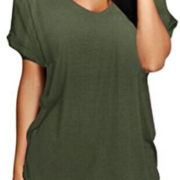 Meaneor Women's Casual V-Neck Roll Over Short Sleeve Solid Loose T-Shirt Blouse