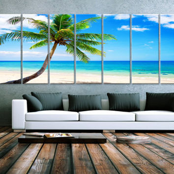 "XXLARGE 30""x 96"" 8 Panels Art Canvas Print Beach Palm Relax Wall Home Decor interior (Included framed 1.5"" depth)"