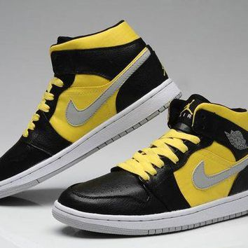 DCCKIJ2 Men's Nike Air Jordan 1 Retro High Leather Basketball Shoes Black Yellow