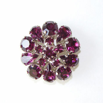 Vintage Purple Rhinestone Button, Large