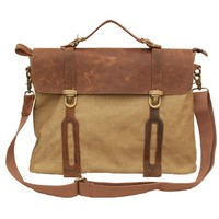 Gootium 30311KA Cotton Canvas Full Grain Leather Cross Body Laptop Messenger Bag Business Shoulder Handbag,Khaki