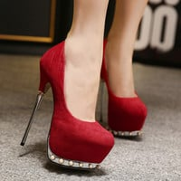 High Heel Pearls Plus Size Decoration Shoes = 4814666180