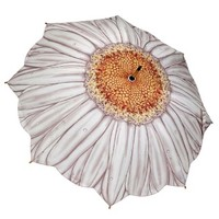 Galleria Art Print Walking Length Umbrella - White Daisy
