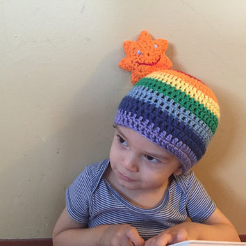 Handmade Crochet rainbow hat, beard beanie. Rainbow hat with orange sun, beard hat, rainbow hat.