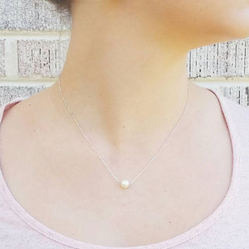 7mm Floating Freshwater Pearl Necklace 16-18 inches Sterling silver Chain