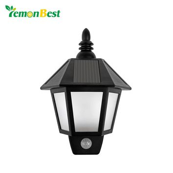 LemonBest Waterproof LED Solar Light Modern Outdoor Lighting Motion Sensor Activated Hexagonal Wall Lamp for Garden Decoration