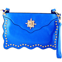 Blue Skull Embellished Clutch Bag - Sheinside.com