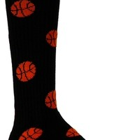 BASKETBALL SOCKS WITH ORANGE BASKETBALL PATTERN